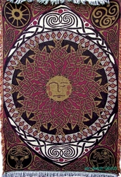 CELTIC SUN TAPESTRY AFGAN THROW by Artist Jen Delyth