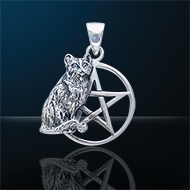 Cat Familiar Pentacle Pendant White Bronze