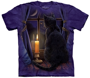 Cat T-Shirt Midnight Vigil by Nemesis Now Artist Lisa Parker  Cat T-Shirt Midnight Vigil by Nemesis Now Artist Lisa Parker, black cat looking out window tee shirt