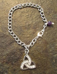 "Celtic ""Evening in Ireland"" Trinity Knot Triquetra Charm Bracelet"