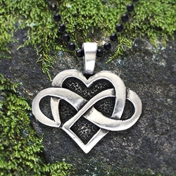 "Celtic Infinity Heart Pendant with ""Infinite Love"" Affirmation on the back"