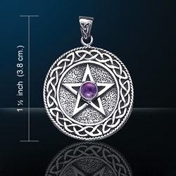 Celtic Knotwork Pentacle Pendant w/ Amethyst Glass