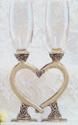 Celtic Smooth Heart Flutes Wedding Glasses