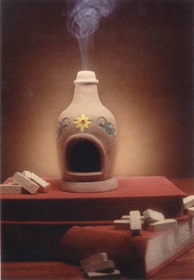 Chiminea Fireplace: with Fir Balsam 40 count Box of natural wood incense.