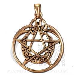 Copper Crescent Moon Pentacle Pendant with Circle