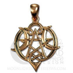 Copper Small Heart Pentacle Pendant