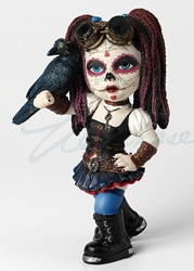 Cosplay Kid - Steampunk-Day Of The Dead Kid Holding A Crow