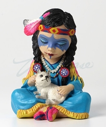 Cosplay Kids Figurines- Native American Girl With Wolf
