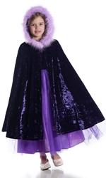 Crushed Velvet Childrens Cape with Boa