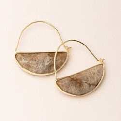 Crystal Prism Hoop Earrings -  Fossil/Gold Plated Crystal Prism Hoop Earrings -  Fossil/Gold Plated
