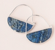 Crystal Prism Hoop Earrings -  Lapis Lazuli Stone of Truth Crystal Prism Hoop Earrings -  Lapis Lazuli Stone of Truth