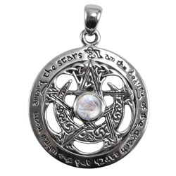 Cut Out Moon Pentacle Pendant with Rainbow Moonstone