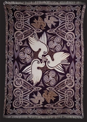 DOVES TAPESTRY AFGAN THROW by Artist Jen Delyth