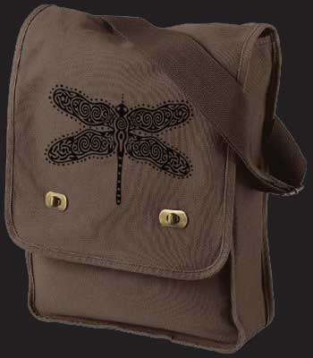 DRAGONFLY - Canvas Field Bag Celtic Purse  In Java or Denim