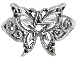 Dryad Designs Sterling Silver Butterfly Pentacle Ring
