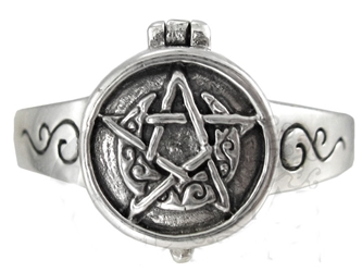 Dryad Designs Sterling Silver Crescent Moon Pentacle Poison Locket Ring