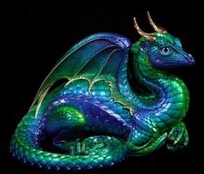 Emerald-Peacock Lap Dragon By Windstone Editions