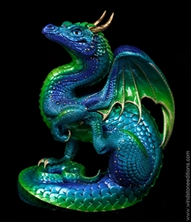 Emerald-Peacock Scratching Dragon by Windstone Editions