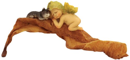 Enchanted Story Fairy Garden Sleeping Fairy Baby with Kitty Outdoor Statue