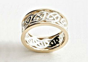 Etwined Celtic Band in Silver and 10K Gold  By Celtic Artist Keith Jack