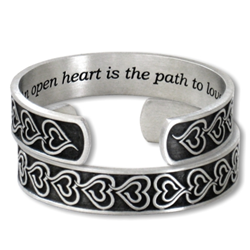 "Eve's Heart Bracelet with inscription  ""An open heart is the path to love"""
