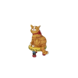 FAIRY GARDEN Miniatures Adorable Orange Tabby Cat on Stool