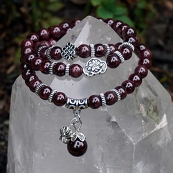 Garnet with Lotus Charm and Eternity Knot Mala