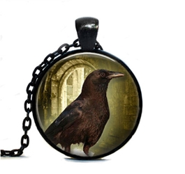 Glass Domed Totem Animal Raven Necklace