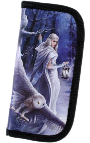 Gothic Billfold Clutch Midnight Messenger Wallet by Anne Stokes Snowy Owl