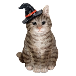 Gray Tabby Kitten Wizard Statue witchy cat, witchs familiar, witch kitten, black cat, kitten in tea cup, Halloween cat, Orange Tabby Cat in Cauldron Statue