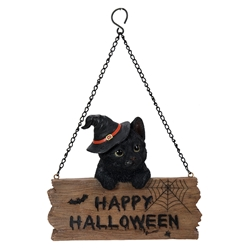 Happy Halloween Black Kitten Sign witchy cat, witchs familiar, witch kitten, black cat, kitten in tea cup, Halloween cat, Happy Halloween Black Kitten Sign