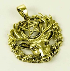Hart of the Wildwood Stag Pentacle Bronze Pendant by Lisa Parker