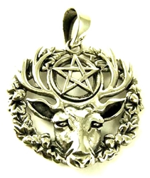 Hart of the Wildwood Stag Pentacle Sterling Silver Pendant by Lisa Parker