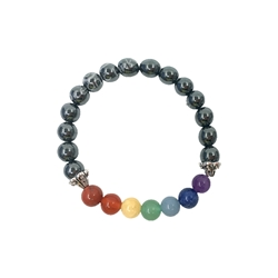 Hematite and Chakra 8mm Beaded Crystal Stone Bracelet  Hematite and Chakra 8mm Beaded Crystal Stone Bracelet