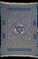 LINDISFARNE blue TAPESTRY AFGAN THROW by Artist Jen Delyth