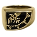 Large Bronze Raven Banner Ring - ZRI1333