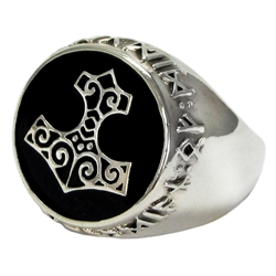 Large Silver Bronze Thors Hammer Ring