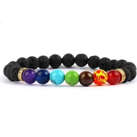 Lava Stone Chakra Bracelet, great for aromatherapy! Lava Stone Chakra Bracelet, great for aromatheraphy!