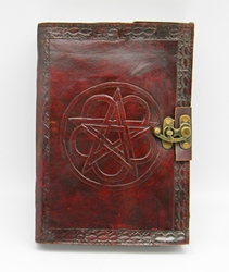 Leather Embossed 5 x7 inch Pentagram Journal with lock