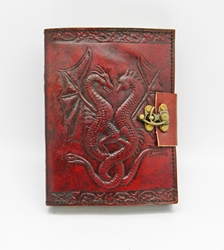 Leather Embossed Double Dragon Journal 5 x 7""