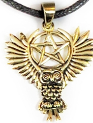 Lisa Parker Flying Owl Bronze Raven Pentacle Pendant
