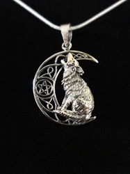 Lisa Parker Howling Wolf Pentacle Moon Sterling Silver Pendant