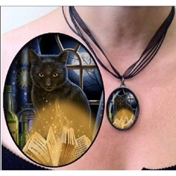Lisa Parker Necklace Bewitched Black Cat and Book of Shadows Pendant