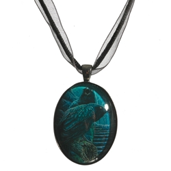 Lisa Parker Necklace Watchmen Raven Glass Covered Pendant