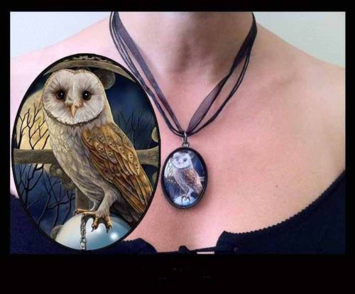 Lisa Parker Necklace with Ribbon Spell Keeper Owl & Crystal Ball