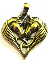 Lisa Parker Two Unicorn Triquetra Heart Bronze Pendant