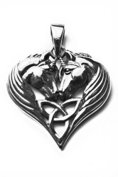 Lisa Parker Two Unicorn Triquetra Heart Sterling Pendant