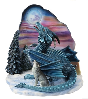 MOONSONG Statue Wolf and Dragon by Ed Beard Jr.