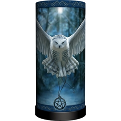 Nemesis Now Anne Stokes Round Lamp Awaken Your Magic Nemesis Now Anne Stokes Round Lamp Awaken Your Magic, owl with pentacle, flying owl