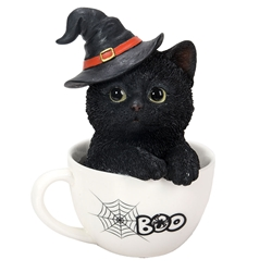 Boo! Black Kitten in a Teacup Statue, so adorable! witchy cat, witchs familiar, witch kitten, black cat, kitten in tea cup, Halloween cat